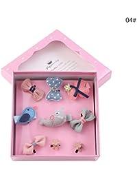 Horquillas de pelo para niñas con lazo, 9 unidades, varios estilos, con clip para el pelo con forma de flor para niños con caja de regalo