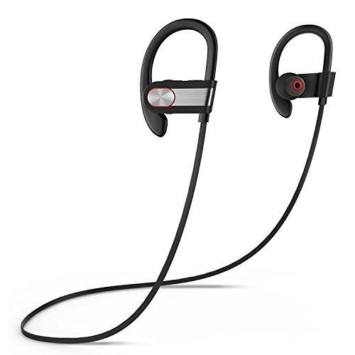 Oreillette Bluetooth de sport,Coio Baignez Casque Antibruit de 4,1 écouteurs Stéréo sans Fil Bluetooth Oreillette Bluetooth de Sport Gym, Exercice, Sport, Course et Activités de Plein Air (Noir-argent)