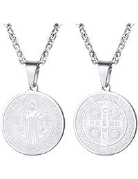 PROSTEEL Collar Medalla Santo Benedicto de Acero Inoxidable/Chapado en Oro con Cadena Eslabones