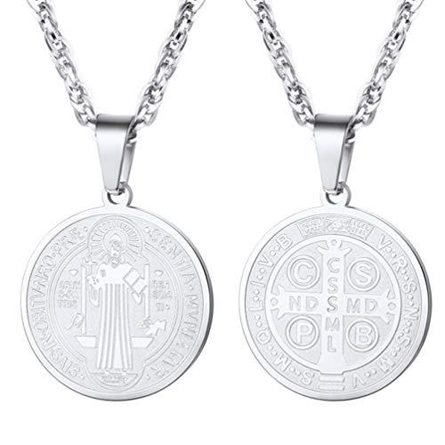 665e5b82eb21 Medalla de San Benito Colgante Religioso con Cadena Cubana de Acero  Inoxidable Tono Plata