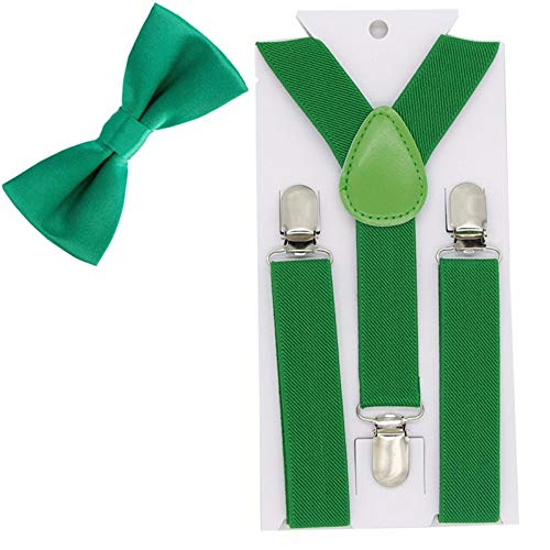 DIAOKUD Hosenträger,Grün Kinder Hosenträger Bogen Krawatten Elastische Einstellbare Y-Back Hosenträger Für Hochzeit Partei Bowtie Kinder Fliege Hosenträger (Grünen Jungen, Bogen-krawatte)