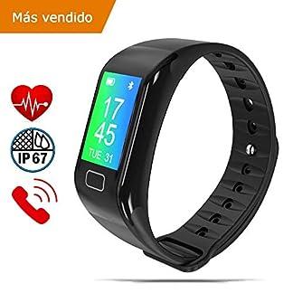 NK Pulsera de Actividad Inteligente SmartBand 02, Smartband-02, Frecuencia cardíaca, Monitor del sueño, Resistencia al Agua IP67, Podómetro | Color Negro