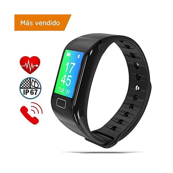 NK Pulsera de Actividad Inteligente Smartband-02, Frecuencia cardíaca, Monitor del sueño, Resistencia al Agua IP67, Podómetro, Color Negro 1