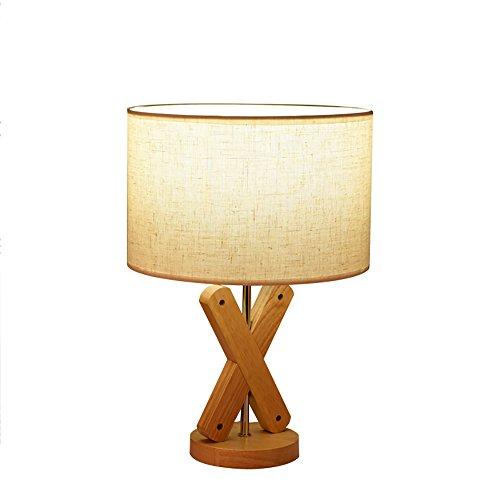 uus Lampe de table solide bois tissu LED chambre lampe de chevet E27 ampoule base 25 * 36cm lumière chaude (économie d'énergie A +) (Couleur : Commutateur Dimming, taille : 25 * 36cm)