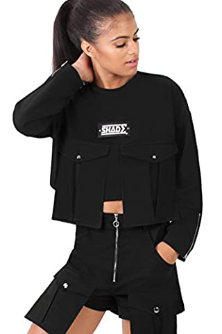 SHADE London Womens Black Pockets Logo Cropped Sweatshirt Jumper Pullover / Multiple Sizes Available (M / UK 12)