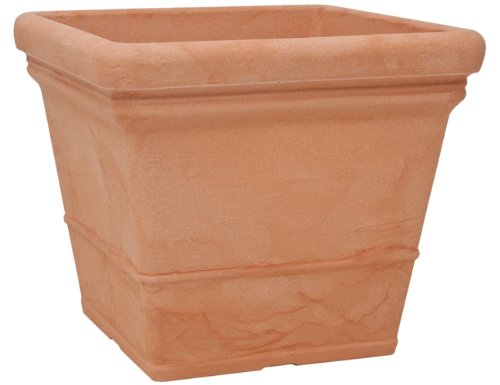 "6250-T - PFLANZTOPF "" LISA \"" - QUADRATISCH - FARBE: TERRACOTTA - MADE IN GERMANY - MATERIAL KUNSTSTOFF - LxBxH - 50cm x 50cm x H 43 cm"