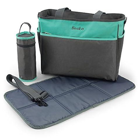 Becko grau-grün Baby-und Kinder-Windeltasche/ Windelhandtasche+Wickelmatte/Wickelunterlagen + Flaschenschutztasche(3 in