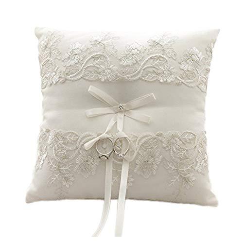 amajoy marfil boda anillo almohada cojín en forma de anillo con flores de encaje, 8,2pulgadas (21cmx 21cm) Anillo Portador para playa boda, ceremonia de boda