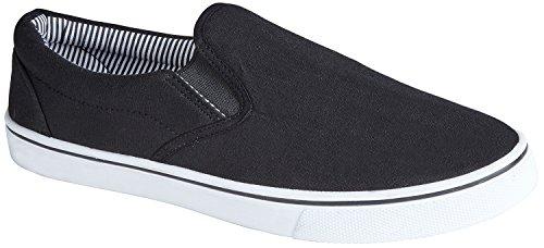 Homme Slip sur toile d'été Chaussures - Noir - noir,