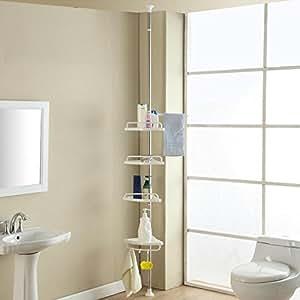yahee teleskop duschablage duschecke badregal eckregal duschablage mit 4 b den 120 300 cm. Black Bedroom Furniture Sets. Home Design Ideas