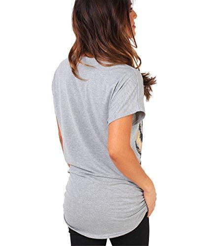 KRISP Damen Shirt Oversize mit Tiger Aufdruck und goldener Applikation Grau