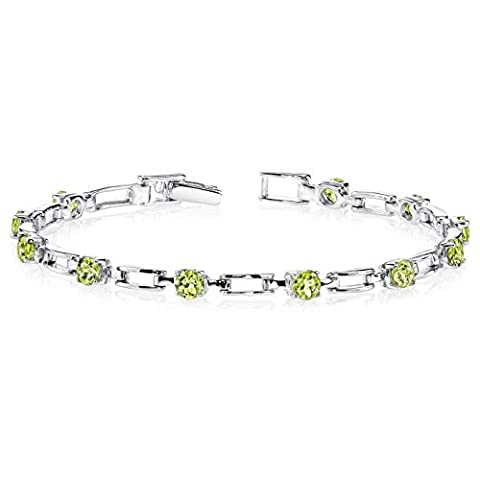 Revoni Gorgeous and Chic: 3.00 carats total weight Round Shape Peridot Gemstone Bracelet in Sterling Silver