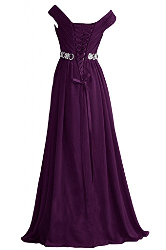 Sunvary eleganti A-Line Poretrait V-Neckline Sweep formale ballo di abito da sera Grape