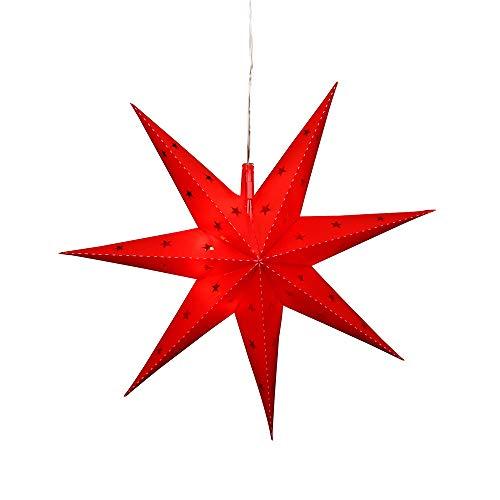 Dekohelden24 Falkensteiner Adventsstern aus Kunststoff zum aufklappen, Ø 45 cm mit 7 Spitzen, in der Farbe rot, inkl. LED Beleuchtung und Adapter, für Innen und Außen geeignet.