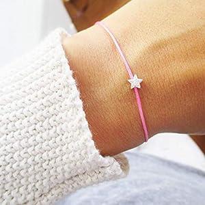 AQUAGEMS Armband mit Stern Sterlingsilber | Geschenk Weihnachten Adventskalender Wunscharmband Sternenkind | Sternchen Rosa