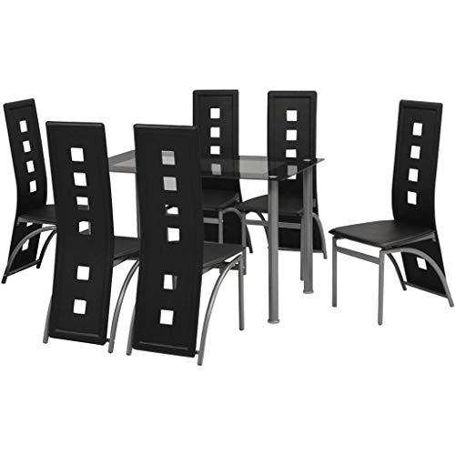 Festnight- Sitzgruppe mit 6 stühle   Esstisch Esszimmerstühle Esstischgruppe Essgruppe Esstisch-Set Stuhlset   Kunstleder Glas Stahlrahmen Schwarz