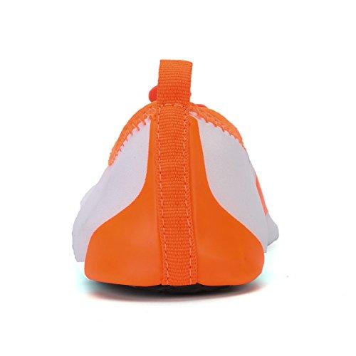 Unisexe Barefoot Peau Chaussettes Aqua Peau Chaussures pour les Adultes et les Enfants pour Beach Natation Surf Yoga Fitness d'exercice Orange blanche