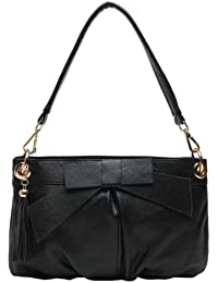 Careshive Handmade Bow Brief Women'S First Layer Of Cowhide Tote Bag Messenger Bag (Black)