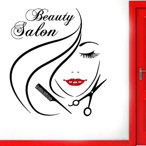 Peluquería Ventana de cristal Puerta Puerta Etiqueta de vinilo Salón de belleza Cara de mujer Estilo de peinado Calcomanía de pelo DIY Decoración de la habitación 57X63CM
