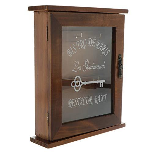 3-licht-schüssel Halterung (Fenteer Holz Schlüsselkasten Schlüsselschrank Schlüsselbox Schlüssel Box Schrank mit 3 Haken - Braun)