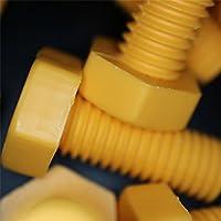 30 x Tornillo de cabeza Polipropileno Amarillo (PP), Tornillos y Tuercas de Plástico, M10 x 25mm, resistente al agua, anticorrosivo, resistente a los químicos, aislante eléctrico, resistente