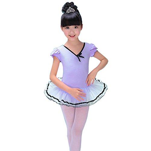 Mädchen Kleid Ballett Rock Tutu Tanz Zubehör Ballett Versorgung Tanz Kostüme, Lila