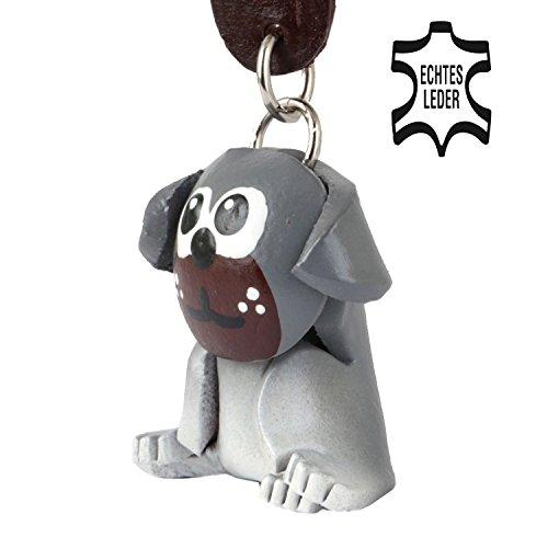 Monkimau Mops Pug Molly - Hunde Schlüsselanhänger Figur aus Leder Frauen - Kategorie Kuscheltier - Stofftier - Artikel in schwarz grau - Dein Carl glubschi Freund ca. 5cm groß (Mops Stofftier Schwarze)