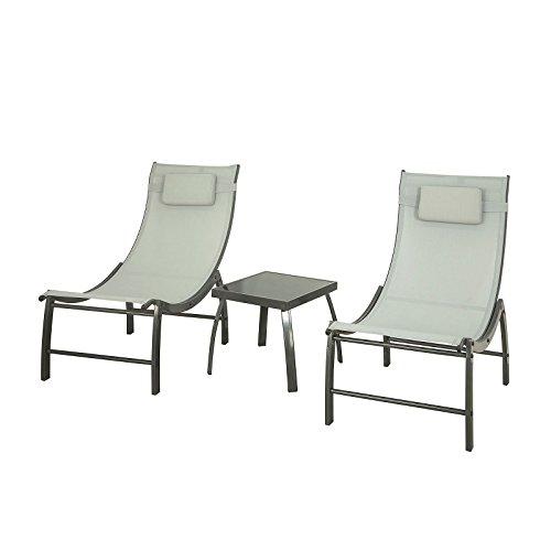 SoBuy OGS37-HG 3 Teilige Gartengruppe mit Einem Tisch und 2 Stühlen Gartenmöbel Set Balkonset...