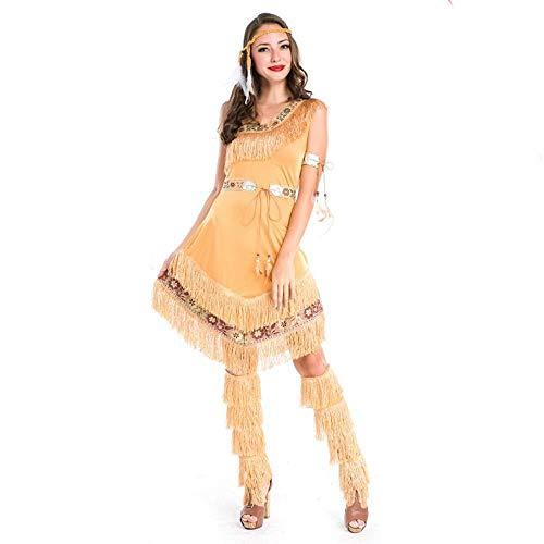 Shisky Cosplay kostüm Damen, Halloween-Kostüm Primitive eingeborene Kleid Fransen Stammes-Prinzessin Kleid Bühne Party Kostüm