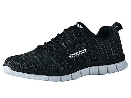 Knixmax Damen Sportschuhe Bequem Turnschuhe Atmungsaktiv Running Sneaker Outdoor Fitnessschuhe Leicht Laufschuhe (UK6/EU39) Schwarz-Black