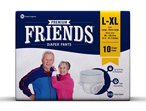 Friends Protective Underwear for Men and Women Disposable Pullups - L-XL (10 Count)