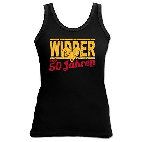 TankTop T-Shirt ::: Widder seit 50 Jahren ::: zum Geburtstag mit Sternzeichen Schwarz