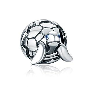 Charm in argento Sterling a forma di tartaruga marina, compatibile con bracciali europei e Pandora