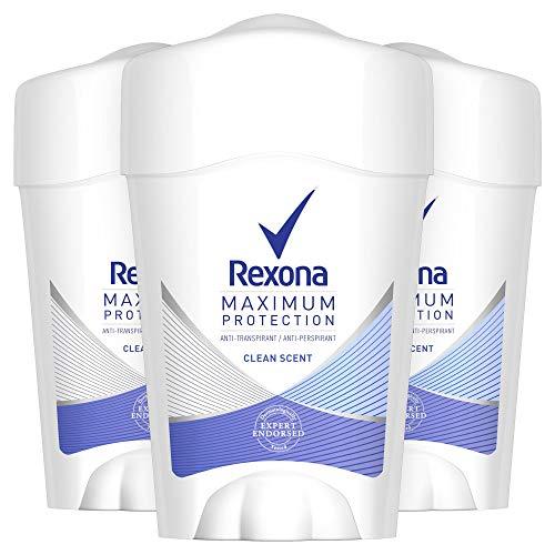 Rexona Maximum Protection Anti-Transpirant Cremestick, für langanhaltende Frische Clean Scent 48-Stunden-Schutz (3 x 45 ml)