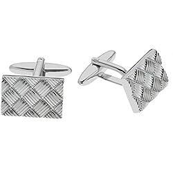 Gemelos de metal color plata con detalle