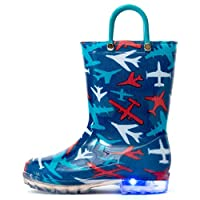 Outee Toddler Boys Little Kids Light Up Rain Boots Printed Waterproof Shoes Lightweight Cute Blue Plane with Easy-On Handles and Insole (Size 10,Blue)