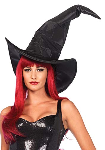 Rüschen Hexe Kostüm - LEG AVENUE A2741 - Kostüm Zubehör Großer Hexen Hut mit Rüschen,Einheitsgröße (Schwarz)