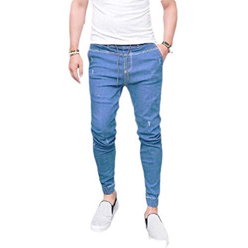 Herren Rugged Casual Boot (CuteRose Men Pockets Washed Tapered Stretch Rugged Wear Trim-Fit Hiphop Jeans Light Blue XS)