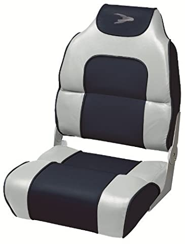 Wise High Back Boat Seat with Logo (Grey/Navy) by Wise