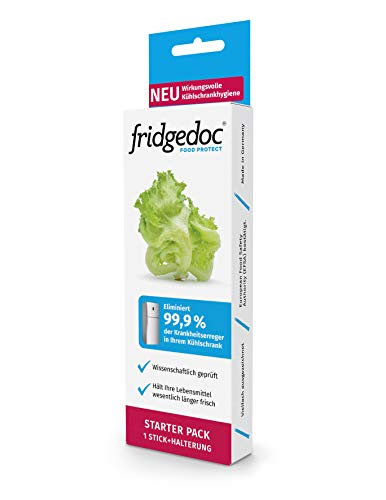 Fridgedoc - Kühlschrank Hygiene | Hält Lebensmittel 25 Tage länger frisch | 99% weniger Krankheitserreger | Geruchsneutralisierer | Kühlschrankdesinfektion | Kühlschrankreiniger