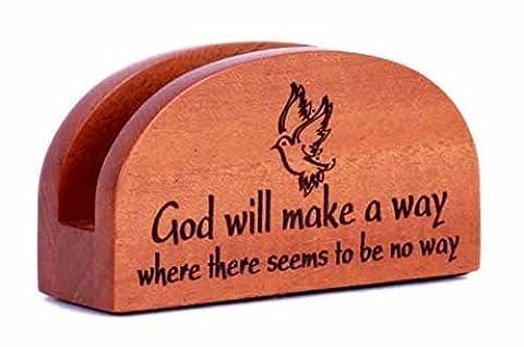 God wird machen a weg Visitenkartenetui holzern Christian büro tisch geschenk ornament taube