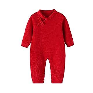 Auro Mesa Christmas 2017 Newborn Baby Girls Red Chinese Cheongsam Knitted Romper for Baby Winter Sweet Costumes Baby Girl Winter (18-24M)