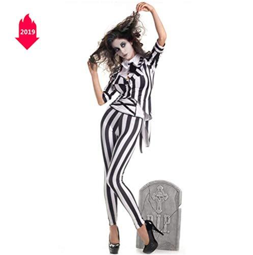 Halloween-Kostüm, Schwarz-Weiß-Streifen Magier Smoking Taro Ghost Bride Zombie Kostüm Cosplay Bühnenuniform