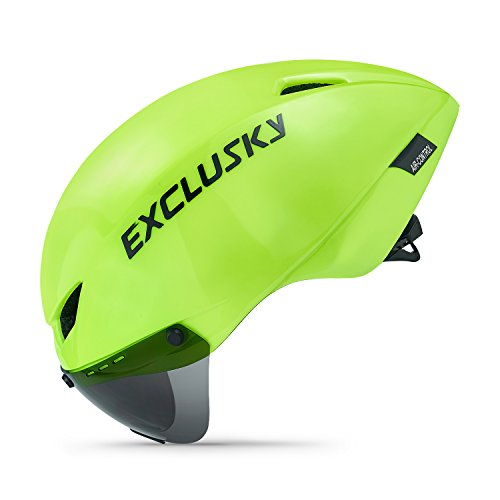 Exclusky Cicada Unisex Casco de Ciclismo para Bicicleta Bici Verde/Azul Tamano 56-61cm con Gafas (Green Balck) ...