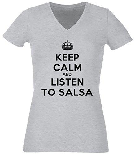 Keep Calm And Listen To Salsa Donna V-Collo T-shirt Grigio Cotone Maniche Corte Grey Women's V-neck T-shirt