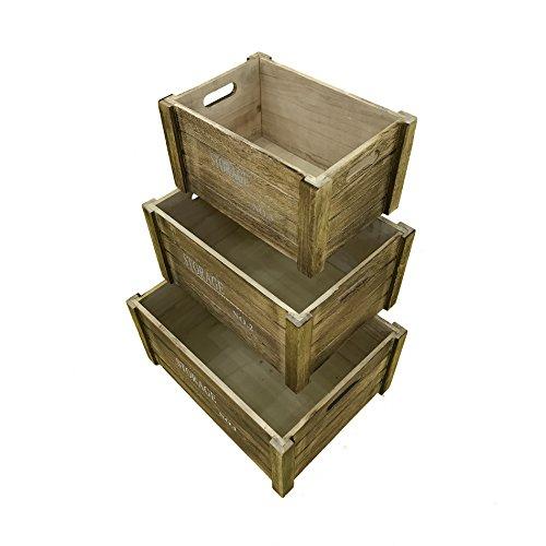 Rebecca Mobili Set 3 pz scatole di Legno Vintage, Scatola Frutta per ...