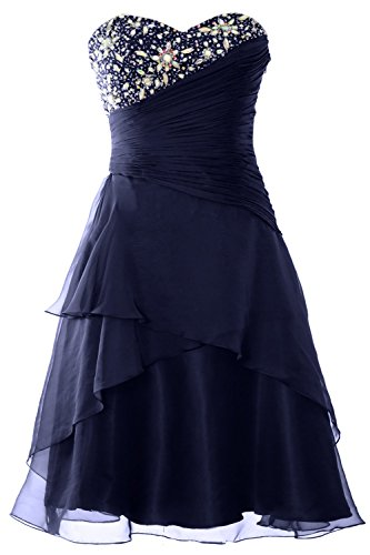 MACloth Women Strapless Short Prom Dress Tiered Cocktail Party Formal Gown Dark Navy