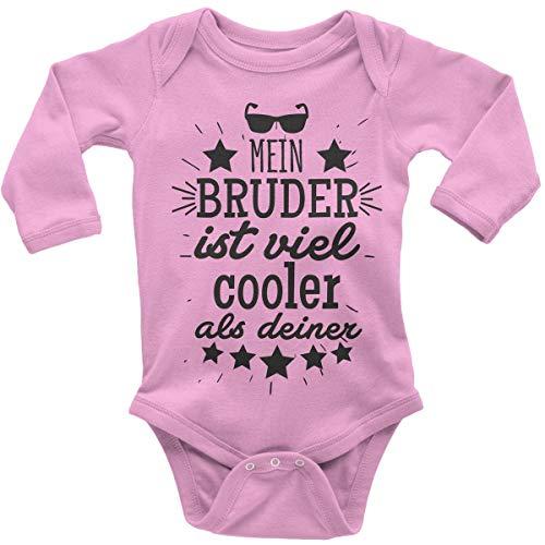 Mikalino Babybody mit Spruch für Jungen Mädchen Unisex Langarm Mein Bruder ist viel Cooler als deiner v2 | handbedruckt in Deutschland | Handmade with Love, Farbe:rosa, Grösse:56