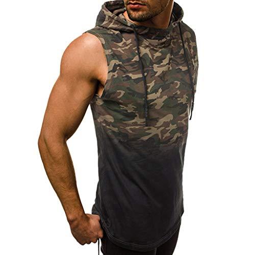 REALIKE Herren Tank Top mit Hoodie Mode Tankshirt T-Shirt mit Rundhalsausschnitt Unterhemden Camouflage Ärmellos Weste Muskelshirt Fitness Oberteile Basic für Männer bis Größe S-2XL
