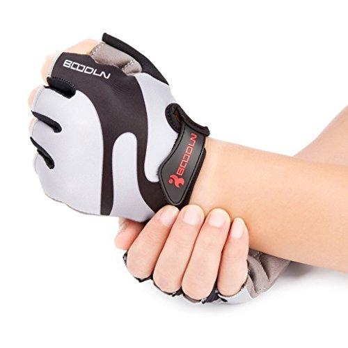 iCreat Damen / Herren Kurze Rennrad Handschuhe Power Fahrrad Active Gloves mit Geleinlage Grau, Größe M - 3
